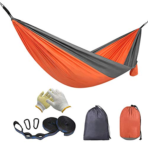 BADIQI Camping Hammock Double and Single Portable Nylon Parachute Hammock Suitable for Hiking Beach Mountain Climbing Backyard and Garden OrangeGray …