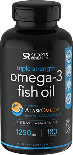 Omega-3 Wild Alaskan Fish Oil (1250mg per Capsule) with Triglyceride EPA & DHA | Heart, Brain &...