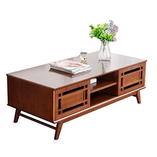 AVOA Perchero moderno clásico de bambú grueso, gran capacidad de almacenamiento con cajón, mesa de té, sala de estar, sofá, mesa auxiliar (tamaño: 120 x 55 x 42 cm)
