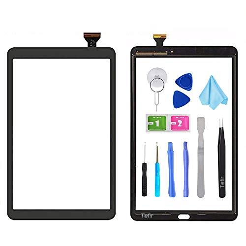 Tefir Negro Pantalla táctil digitalizadora de Cristal para Samsung Galaxy Tab A 10.1 (2016) T580 T585 SM-T580 SM-T585 (sin LCD) con Adhesivo y Herramientas