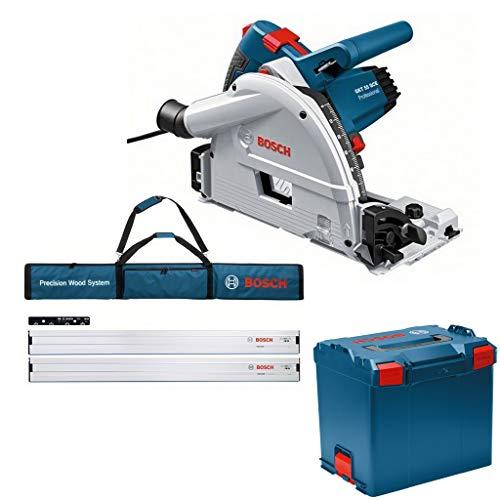 Bosch Tauchkreissäge GKT 55 GCE L-Boxx + 2 Führungsschiene FSN 1600 1x FS Tasche - saubere Schnittkanten & rutschfreie Handhabung