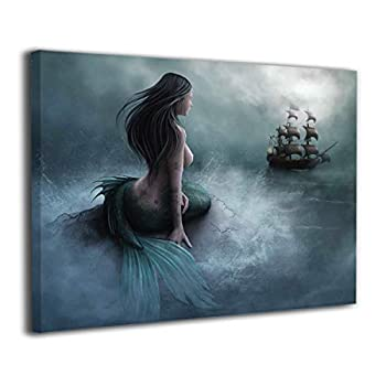 Okoart Canvas Wall Art Prints Mermaid and The Sailing Pirate Ship Fantasy -Photo Paintings Contemporary Decorative Giclee Artwork Wall Decor-Wood Frame Gallery Wrapped 16 x20