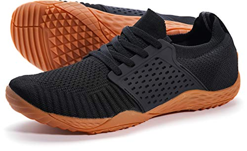 WHITIN Men's Trail Running Shoes Minimalist Barefoot 5 Five Fingers Wide Width Size 12 Low Zero Drop Male Parkour Road Sport Toe Box Gym Workout Fitness Breathable Beach Black Gum 45