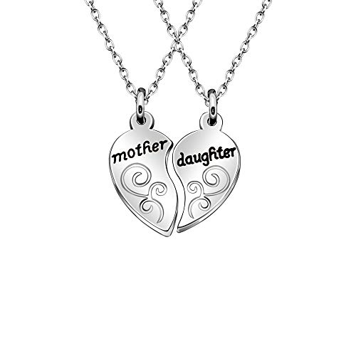 AGR8T Pendant Necklace Set Mother Daughter 2Pcs Heart Family Jewelry Pendant Birthday Party Gift for Mothers Day