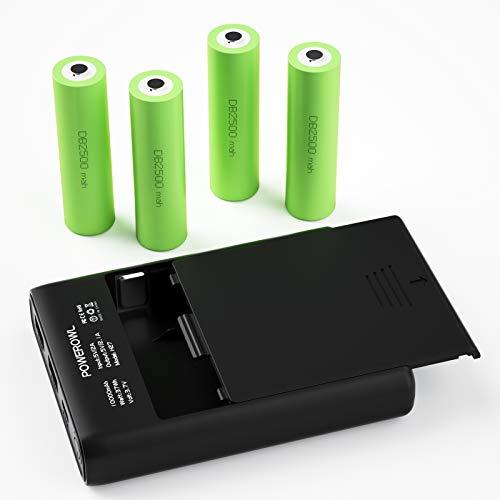 POWEROWL DIY Power Bank Wiederaufladbare Akku 3.7v 4 Stück DIY Batteriebank 2 USB-Anschlüsse Premium Kunststoff-Shell-Box (Typ C, Beleuchtung)