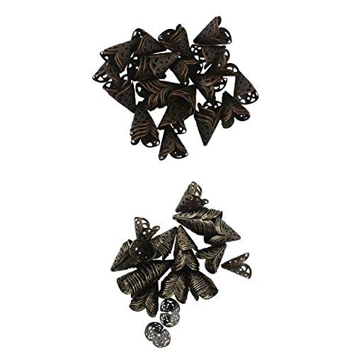 joyMerit 100 Piezas de Tapas de Cuentas de Flores de Aleación Negra de Cobre Antiguo Tapa de Cono de Cuentas de Filigrana Accesorios de Joyería DIY 16 Mm
