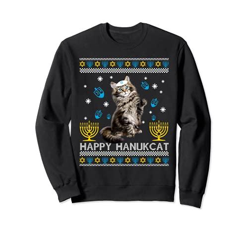Happy Hanukcat Ugly Hanukkah Sweater Maine Coon Cat Jewish Sweatshirt