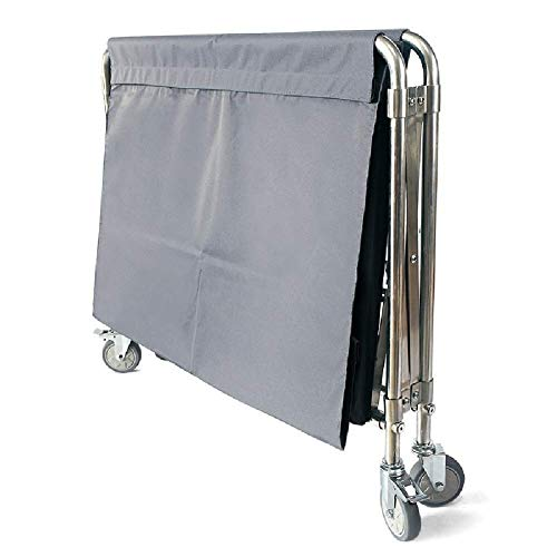 Fantastic Prices! GSF Carts,Wheeled Laundry Cart, Folding, Large Housekeeping Trolley with Bag, Stainless Steel Frame,Gray