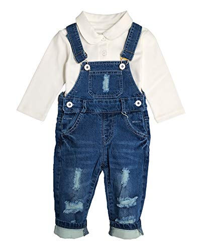 Chumhey Baby & Toddler Boys Jean Overalls Pants Set,Blue,12-18 Months