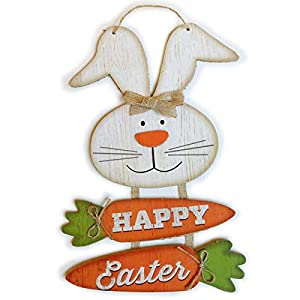 Dimensions: H 14 x W 8.8 inches. This cute Easter bunny decor Sign is made of MDF wood. Let your friends, family, and neighbors see your caring and witty sense of humor with these wooden rabbit signs. You can hang it on your wall, driveway, window, d...