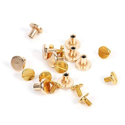 Tonysa 10 Juegos de Tornillos de botón de latón de 5/6.5/8 mm, Tornillo de botón de latón Macizo Tornillo de Clavo Screwback para Cuero Remache cinturón DIY Oro(8mm)