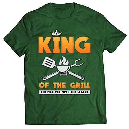 lepni.me Männer T-Shirt König des Grills Meister BBQ Chef Der Mann Der Mythos Die Legende (XXL Dunkelgrün Mehrfarben)