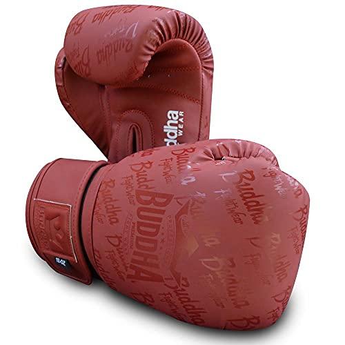 Buddha Fight Wear. Guantes de Entrenamiento y Combate, Special Edition, Fabricados a Mano, Boxeo, Muay Thai, Kick Boxing y MMA Modelo Top Premium Burdeos Mate 10 Onzas