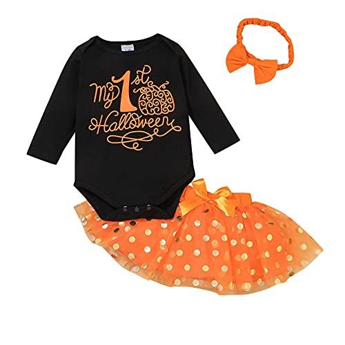 WangsCanis Conjunto de 3 piezas para niño y niña, 1 ° trajes de Halloween de manga larga, mono, calabaza, princesa, tul, tutú, falda de hilo, lazo, diadema, Negro , 0- 3 meses