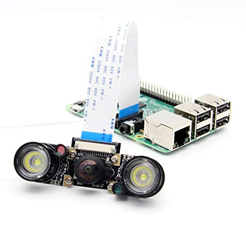 Yongse Panorama-camera met instelbare groothoek HD 175 graden + 2 LED-panelen voor Raspberry Pi