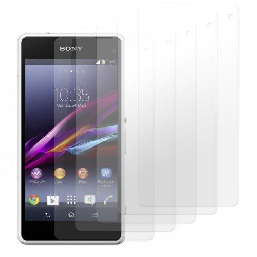 moodie Bildschirmschutzfolie für Sony Xperia Z1 Compact [5 Stück] Premium Folien Kristallklar mit Anleitung für Sony Xperia Z1 Compact