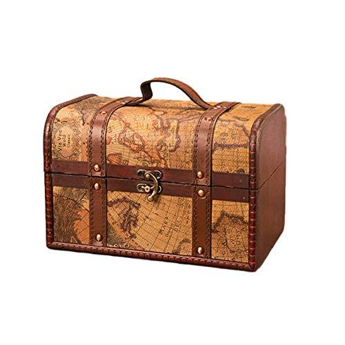 Caja del tesoro de almacenamiento, Caja del tesoro de estilo europeo, Caja de joyería, Mapa antiguo, Caja de madera vintage, Caja del tesoro de colección, Caja del tesoro de actividades, Caja del tes
