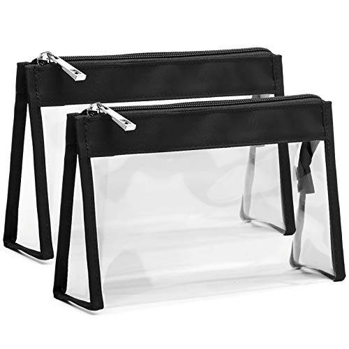 Cambond Clear Makeup Bag, Waterproof Clear Cosmetics Bag TSA Approved Toiletry Bags for Vacation, Bathroom and Organizing, Clear Pencil Case Stationary Organizer (2 Pack)