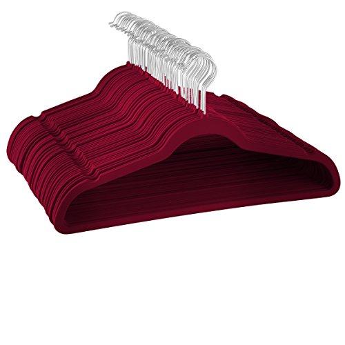 ZOBER Kleiderbügel aus Samt, hochwertig, platzsparend, robust und langlebig, hält bis zu 4,5 kg, 360-Grad-Drehhaken, ultradünn, rutschfest, Königsrot/Burgunderrot, 50 Stück