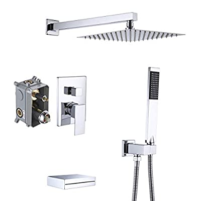 KES Shower System with Waterfall Tub Spout Pressure Balance 3-Function Shower Faucet Set Square with 10 Inch Rain Shower Head Chrome (Including Shower Faucet Rough-In Valve Body and Trim), XB6305-CH