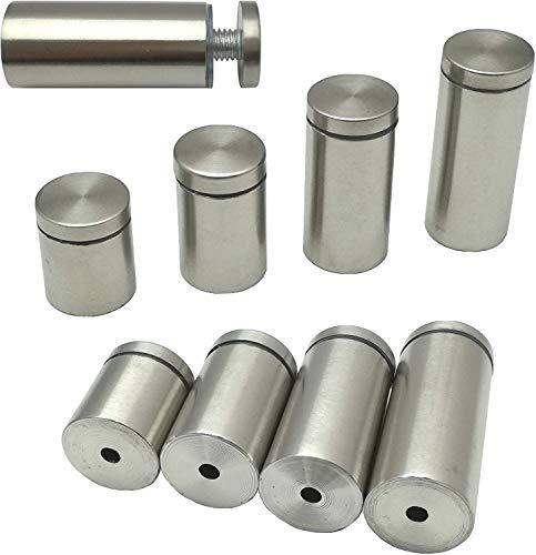 4 supporti per specchio in acciaio inox spazzolato, distanziatori per vetro, vetro acrilico, immagini o specchio (6 cm – Ø 2,5 cm)