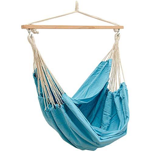AMANKA extra veilige XXL Hangstoel - 185x130cm Hangmat - 150kg Tuin Hangschommel Blauw