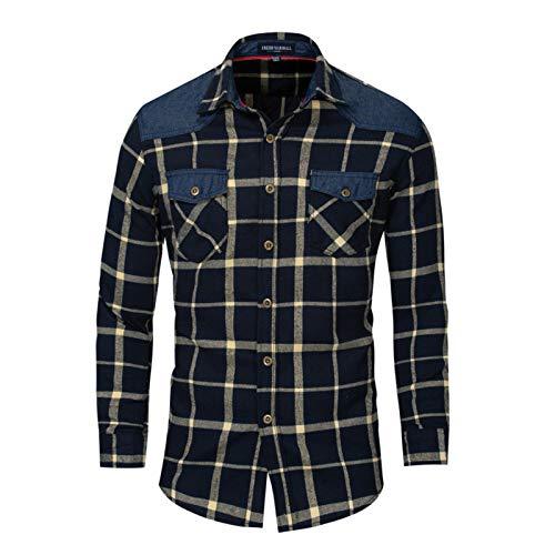 Hombres Camisa a Cuadros Contraste Dril de algodón con Botones Camisas, Camisa Casual Resistente al Desgaste y Resistente a Las Manchas,Beige,XXXL