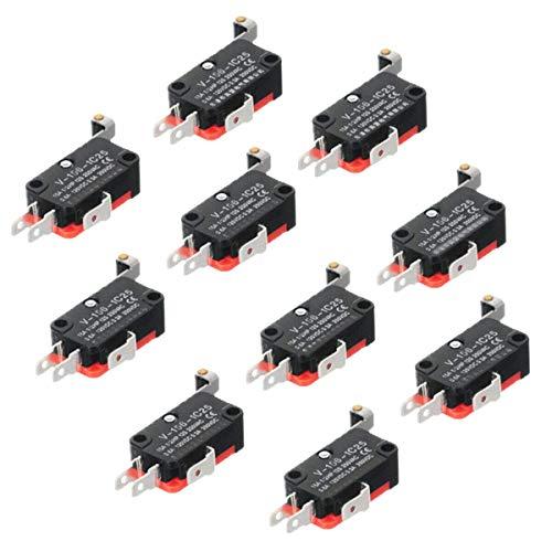 ZHITING 10pcs V-156-1C25 Interruptor de límite de Plomo Interruptor SPDT Base de Plata Balanceo de Rodillo de Contacto