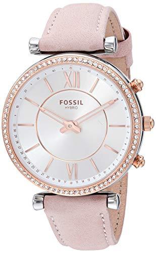 Fossil Women's Carlie Stainless Steel Hybrid Smartwatch Watch, Color:Beige (Model: FTW5039)