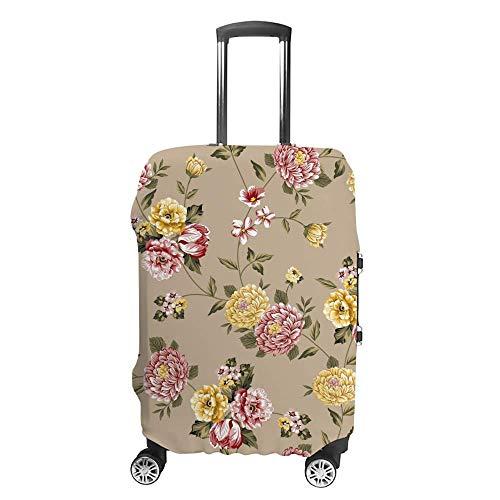 Funda de equipaje gruesa lavable rosa amarillo patrón de flores de poliéster fibra...