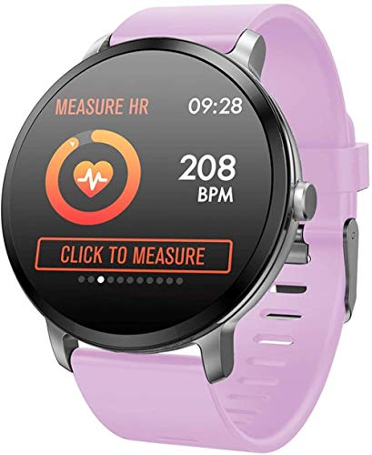 JSL Reloj inteligente Bluetooth Fitness Tracker pantalla de color vidrio templado modo deportivo inteligente impermeable pulsera negro-púrpura
