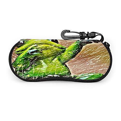 Estuche Protector Unisex de Rana Dabbing Lindo bosquejado , para Gafas Gafas de Sol , Estuche Blando Estuche para Gafas con Cremallera , con Clip para cinturón