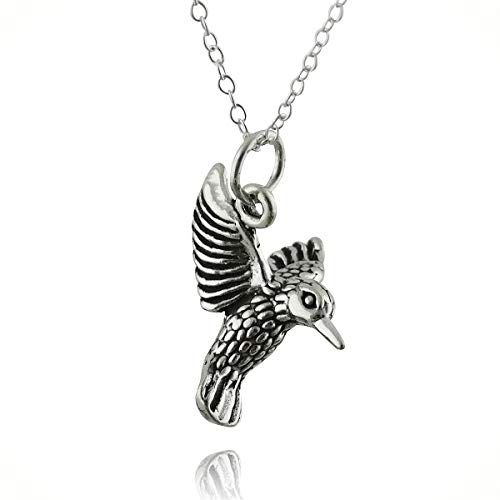 3d Hummingbird Charm Statement Chunky Pendant Rhinestone Necklace for Women Silver Feeder Bird Gift Wings