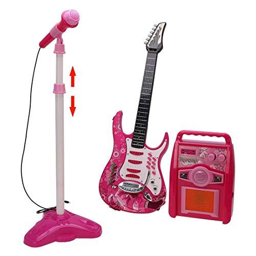 GST Instrumentos de Cuerda para niños Guitarra para niños, 72 cm 6 Cuerdas Niños Guitarra eléctrica Instrumentos Musicales Juguete Educativo con micrófono para niños (Color: Rosa) (Color : Pink)