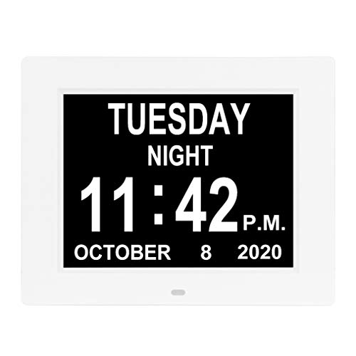 [2020 Upgraded] Digital Day Calendar Clock 12 Alarm Options Non-Abbreviated Day & Month Auto-Dimming Extra Large Dementia Senior Elderly Vision Impaired Clocks