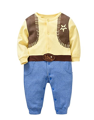 SUNFLOWER BABY Newborn Unisex Baby Onesies Long Sleeve Footies Romper West Cowboy Cute Outfits Suitable For Spring/Autumn (3-6months, West Cowboy)