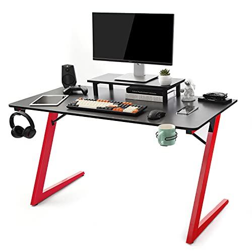 TOPSKY Gaming Tisch Zuhause Büro mit Getränkehalter Kopfhörer Haken Controller (Schwarz und Rot) (120 * 60cm, Schwarz + Rot)