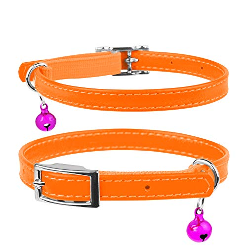 """Breakaway Leather Cat Collar With Bell & Elastic Strap - Leather Kitten Collar - Pet Collar Leather - Leather Collar for Cats Blue Red Pink Orange Yellow Purple (Neck Fit 8 5/8""""-11 7/8"""", Orange)"""