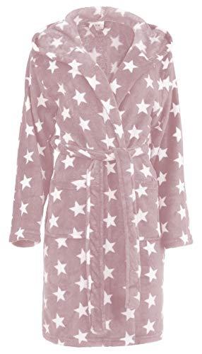 Brandsseller Damen Bademantel mit Sternen L/XL, Rosa/Weiß