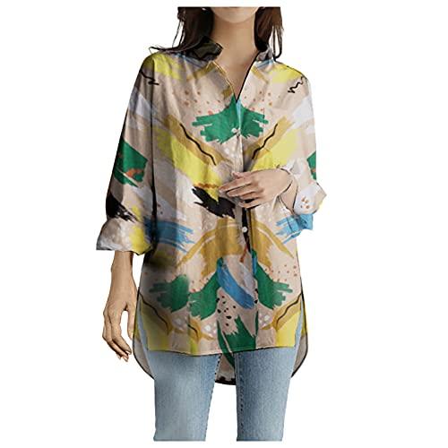 Aoseiens Camisas casuales de manga larga con cuello en V y botón de graffiti para mujer, amarillo, XL