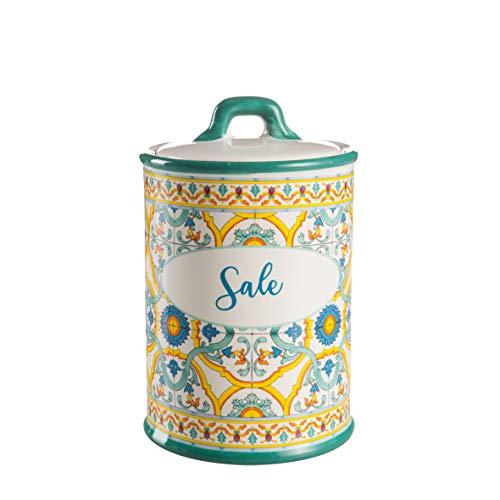 Montemaggi Barattolo Sale in Ceramica Chiusura Ermetica Decoro Maioliche 10.5X10.5X17cm