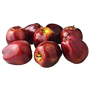 JEDFORE Fake Dark Red Apple Simulation Artificial Lifelike Plastic Red Delicious Apples Set Fake Fruit for Home House Kitchen Wedding Party Decoration Photography (8Pcs)