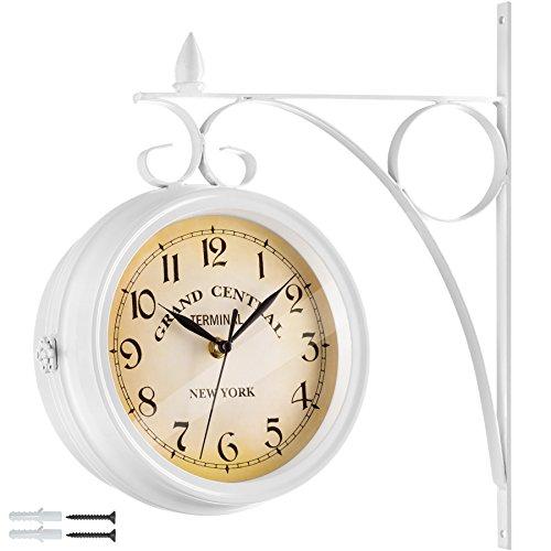 TecTake 800573 Horloge Murale Design Rétro Double Cadran - Diverses Couleurs - (Blanc | n° 402773)
