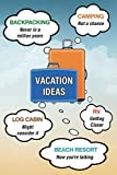 Vacation Ideas: Backpacking, Camping, Log Cabin, RV, Beach Resort (Blank journal, notebook, diary, 110 pages, college ruled, 6x9 inches) [Idioma Inglés]
