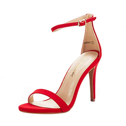 DREAM PAIRS Women's Karrie Red Suede High Stiletto Pump Heeled Sandals Size 9 B(M) US