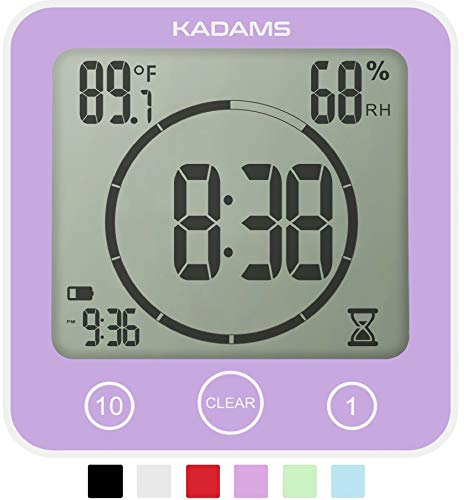 KADAMS Digital Bathroom Shower Kitchen Clock Timer with Alarm, Waterproof for Water Splashes, Visual Countdown Timer, Time Management Tool, Indoor Temperature Humidity, Suction Cup Hole Stand (PURPLE)