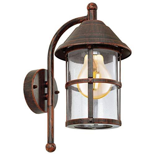 EGLO Außen-Wandlampe San Telmo, 1 flammige Außenleuchte, Wandleuchte aus verzinktem Stahl, Aluguss und Glas mit Lufteinschlüssen, Farbe: Antik-Braun, Fassung: E27, IP23