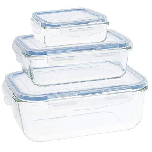 Aktive - Pack 3 Recipientes Herméticos de Vidrio, Tupper Cristal Apto para Microondas, Envases para Comida con Cierre, 330/800/1800 mililitros, Tapas transparentes, Tapers Rectangulares