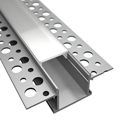 ALU Profil/Einbau Leiste Trockenbau EINPUTZ für Led Streifen + Abdeckung (2m + milchige Abdeckung)