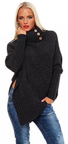 Mississhop Poncho Strick Sweatshirt Pullover Umhang Überwurf Einheitsgröße 36 38 40 S M L 11 Farben, Graphit, S/M/L 36/38/40
